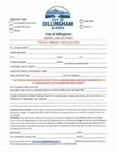 City of Dillingham Travel permit 2020